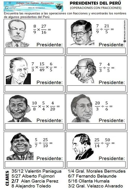 Presidentes del peru - operaciones con fracciones