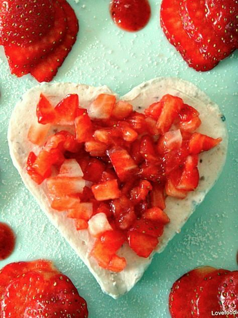 Strawberries & Cream Cheesecake Hearts. Perfect for your Special Valentine! Lovefoodies