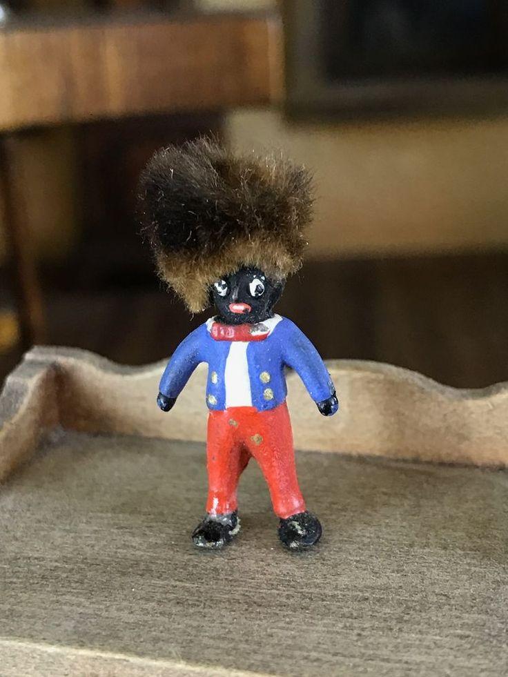 "Antique Micro Miniature Dollhouse Toy Doll Painted Bronze Fur Hair Whimsy 1/2"" #FletcherHouse"