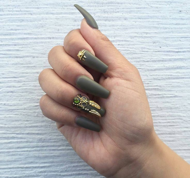 Olive Green With Gold Feather Charms Nail Pinterest