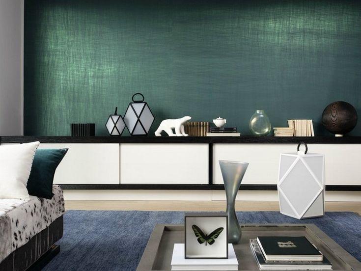 Naturfaser Wandplatten in smaragdgrün - Vega von Elitis