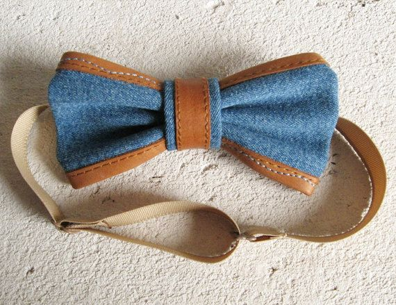 jean blue bowtie leather trim edging  gift for boy men bow tie rustic style decorated natural leather country boho hipster