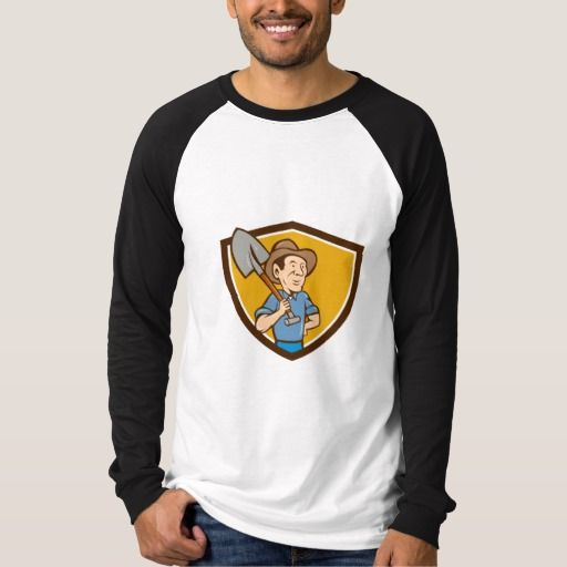 Farmer Shovel Shoulder Crest Cartoon T Shirt. Illustration of an organic farmer holding shovel on shoulder looking to the side viewed from front set inside shield crest done in cartoon style. #Illustration #FarmerShovelShoulder