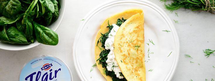 Συνταγή για Κρέπες με σπανάκι και Flair Cottage Cheese