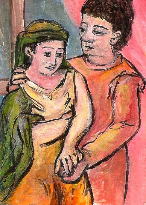 ACEO The Lovers Picasso Expressionism Miniature Art Painting Penny Lee StewArt #Expressionism