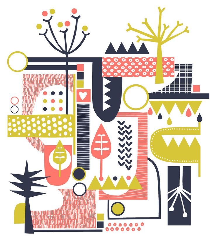 Retro Forest Lime Coral and Navy Screenprint. This would make a super cute kid's room color scheme.
