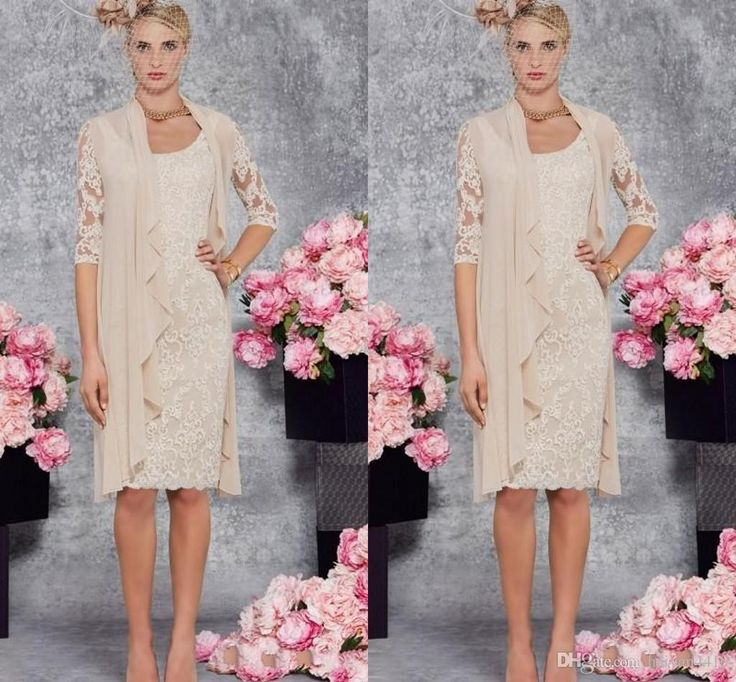 2016 Vintage New Mother Of Bride Dresses Scoop Neck Lace Appliques Champagne Chiffon Knee Length With Jacket Plus Size Wedding Guest Dress Online with $119.6/Piece on Haiyan4419's Store | DHgate.com