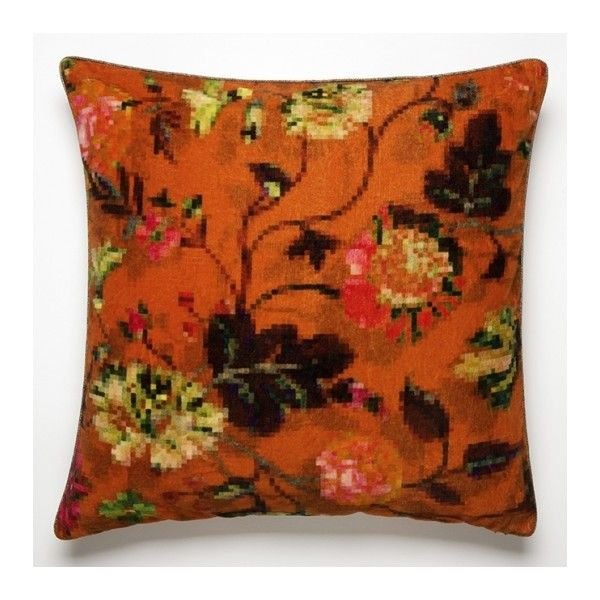 Elitis Eden Cushion ($120) ❤ liked on Polyvore featuring home, home decor, throw pillows, contemporary home decor, contemporary throw pillows, floral home decor and floral throw pillows