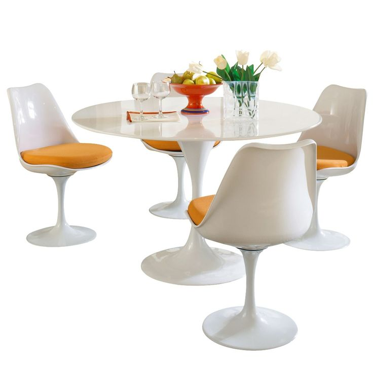 The 1950s was one of the most exciting periods for design as furniture makers and creatives embraced new materials and looked forward to what the future would bring. This Tulip Table and Chair set is rooted in the Modernist movement, removing the distraction and oftentimes inconvenience of table and chair legs and creating a single pedestal for the chair and table, respectively. The set is ideal for breakfast nooks, small spaces, and awkward corners that require a round table. Elegant and…