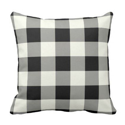 Buffalo Check Plaid Ivory and Black Rustic Throw Pillow - winter gifts style special unique gift ideas