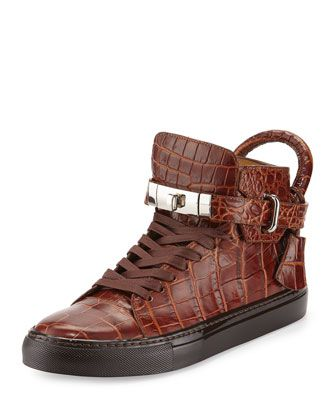 Men\'s 100mm Crocodile-Embossed High-Top Sneaker, Chocolate by Buscemi at Neiman Marcus.