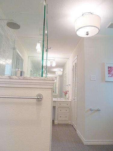 Renovation #3 - master bathroom, carrera marble, frameless glass shower, subway tile, white cabinets: Interiors, Subway Tile, Glasses Shower, Bathroom Kbhome, Bathroom Ideas, Natural Lights, White Cabinets, Flushmount Lights, Master Bathroom