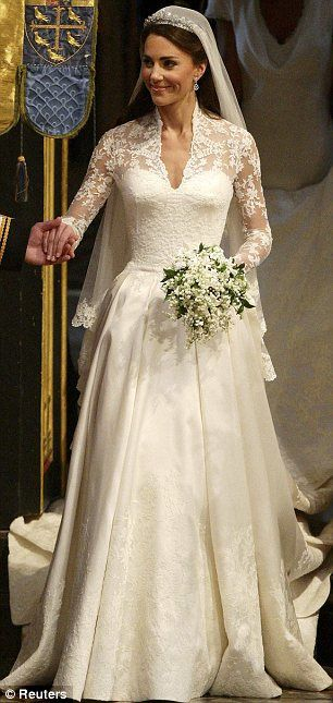The Duchess of Cambridge in her Alexander McQueen gown - Boquet doesn't