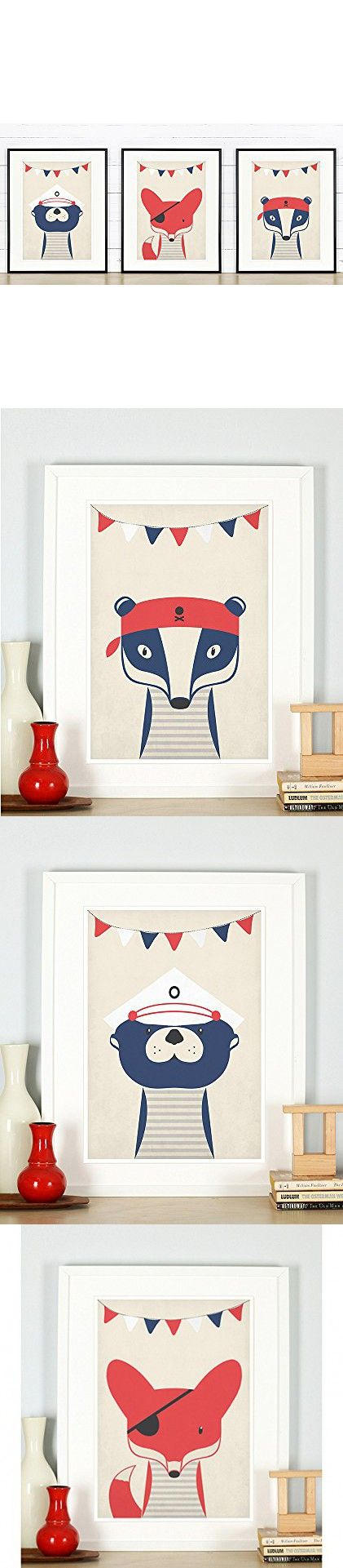 Nursery decor, pirate animals, badger, fox, otter, animals for kids, pirates, sailor animals, nautical theme, retro art print, A3 set