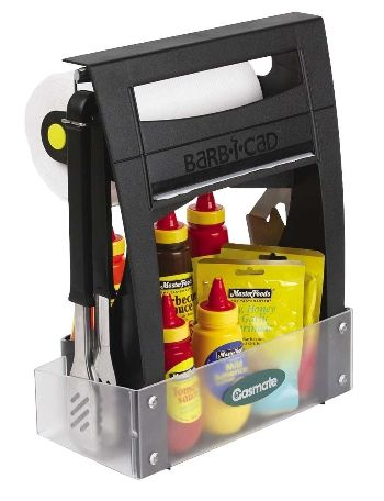 A very Handy BBQ Carry and Storage Utensil that will allow you to house your BQ Sauces and BBQ Tools and a neat dispencer for a roll of paper towels.    Made from Plastic that is easily washable or rinse off.    Everything you need for a Barbeque in one handy place. No more looking for stuff.