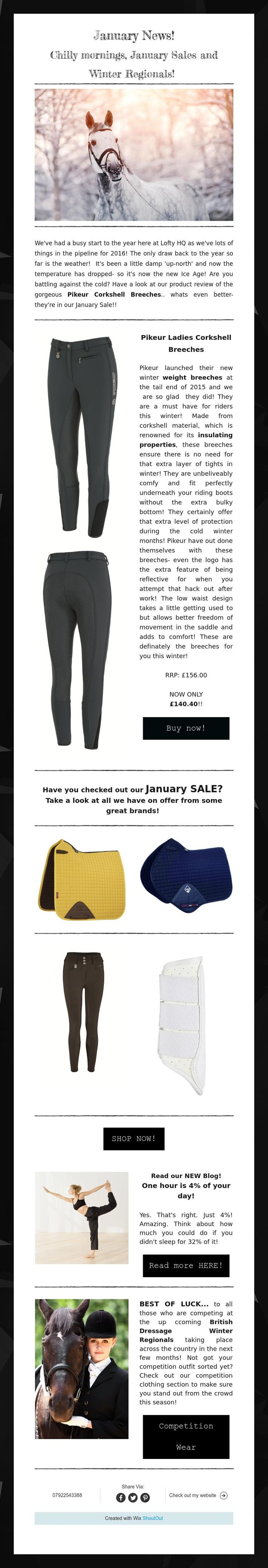 Chilly mornings,January Sales and Winter Regionals! Read our January Newsletter! Want to receive emails? Sign up via our website! www.lofthouse-equestrian.co.uk