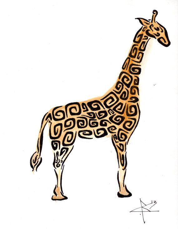 Tribal giraffe tattoo - photo#43