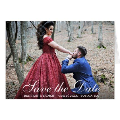 #Elegant Modern Save The Date Couple Photo Fold Card - #savethedate #wedding #love #card #cards #invite #invitation