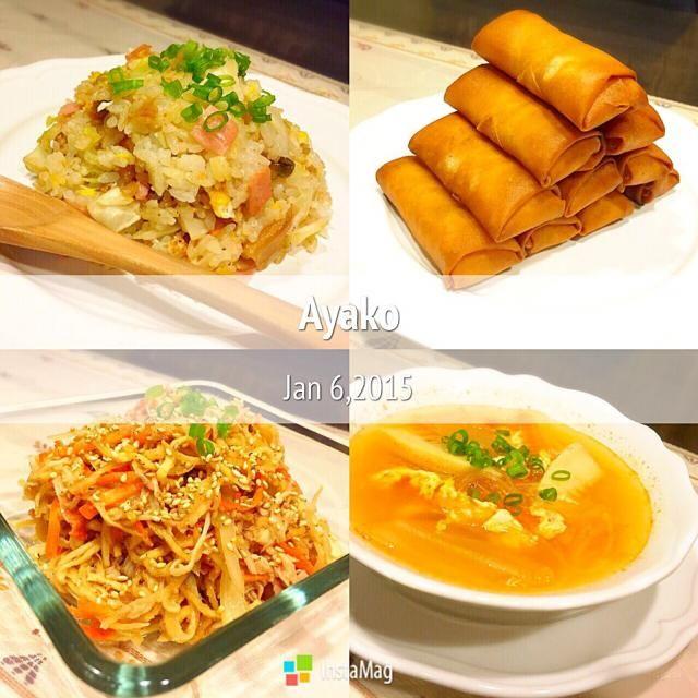 今日はとっても中華が食べたい気分だったから、中華料理を作りました〜(≧∇≦)キムチスープで、ポカポカ♡ - 130件のもぐもぐ - キャベツと搾菜の炒飯、海老春巻き、切り干し大根の中華風サラダ、春雨キムチスープ by ayako1015