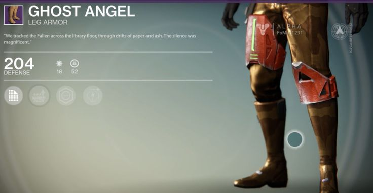 """Ghost Angel is a legendary Hunter leg armor manufactured by the Vanguard, and is part of the Ghost Angel armor set. It can be purchased from Cayde-6. """"We tr... #destiny"""