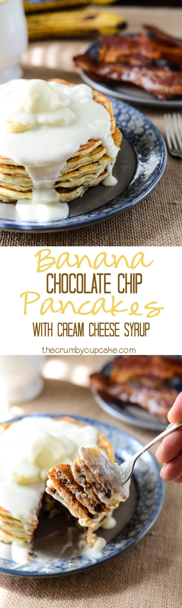 """Banana Chocolate Chip Pancakes   Perfectly light and fluffy banana pancakes, studded with handfuls of chocolate chips, and topped with an ooey-gooey cream cheese """"syrup!"""""""