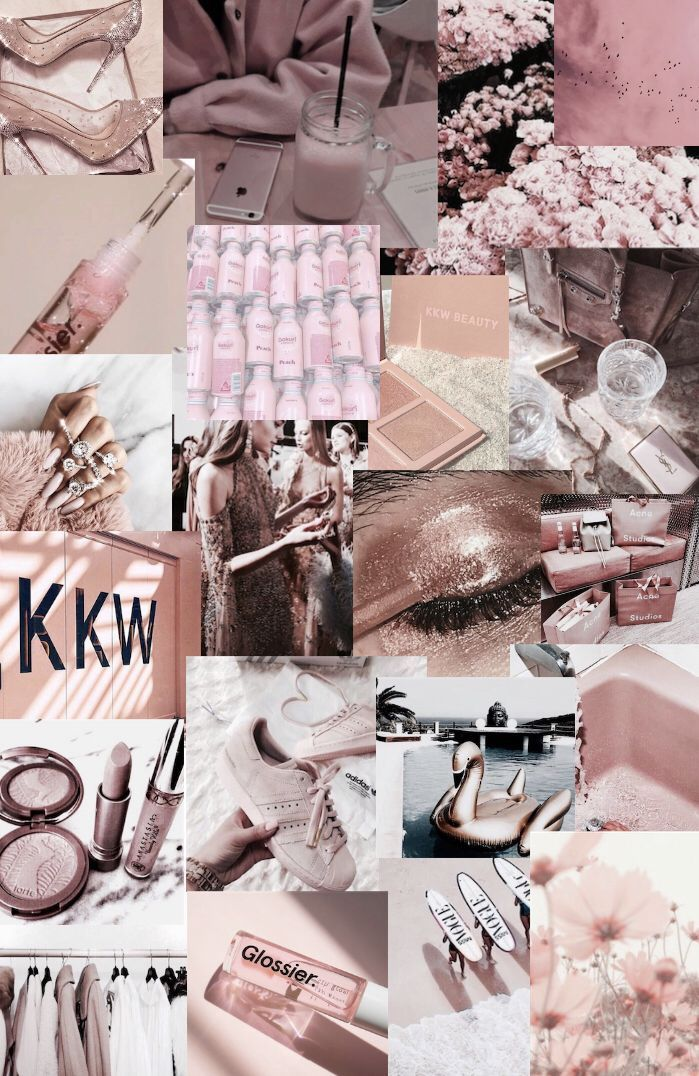Collage Pink Blush Aesthetic Quotes Gold Aesthetic Blush