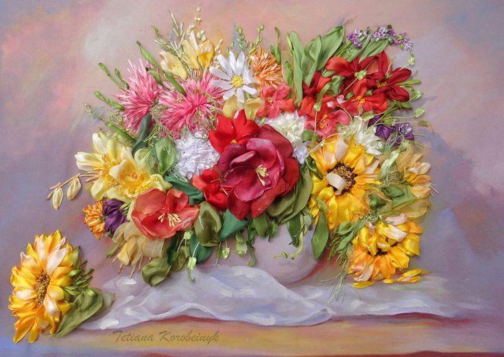 Vaso con i fiori, quadro ricamato, silk ribbon embroidery, ricamo con nastro, by Silkribbonembroidery, 120,00 € su misshobby.com