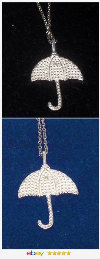 Diamond accent Umbrella Pendant Sterling USA Seller  #ebay http://stores.ebay.com/JEWELRY-AND-GIFTS-BY-ALICE-AND-ANN