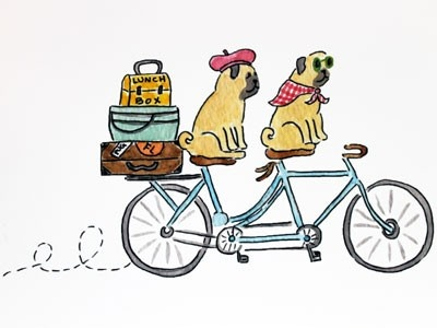 Lydia & Pugs - Tandem Bicycle Pugs Print