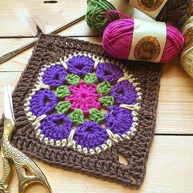 The African flower granny square crochet designs are beautiful! I love working with #lionbrand mini Bon Bon #yarn #crochet #grannysquare #lovetocrochet #crafts