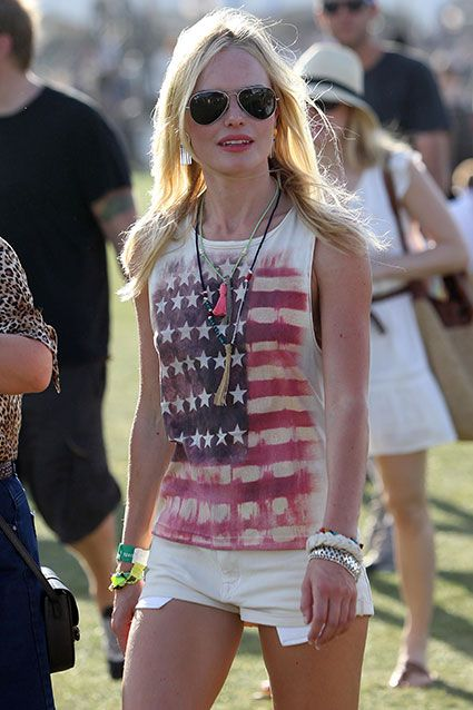 Kate Bosworth looked hipster as ever in this American flag tank and itty-bitty white shorts at last year's Coachella Music and Art Festival.: Stripes Photos, Stars Spangled, Art Festivals, White Shorts, Kate Bosworth Looks, Festival Style, Celebrity Hipster, American Flags Tanks, Bohemian Style