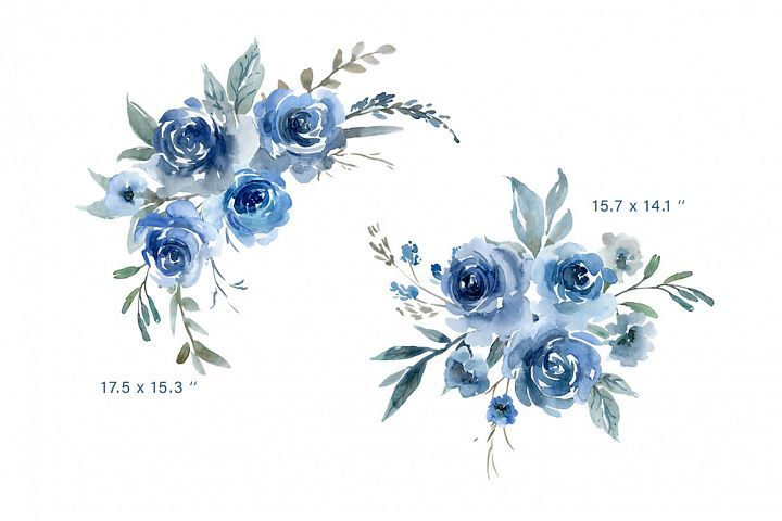 Watercolor Flowers Png Clipart Blue Watercolor Flowers Background