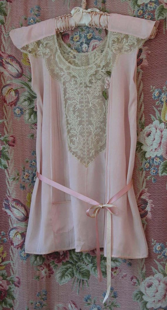 Vintage 1920s Flapper Pajama Pink Silk Lounging Top Gorgeous Lace Trim and Ribbon Rose Decoration Original Silk Ribbon Belt Flapper Lingerie on Etsy, $69.99:
