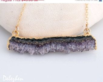 PRE HOLIDAY SALE - Gold Purple Amethyst Geode Stalactite Slice Necklaces - Druzy Agate Slice Connetor - Boho Chic Jewelry - February Birthst