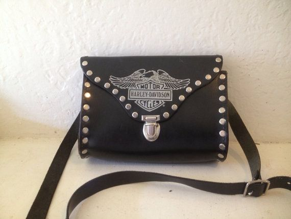 Vtg Harely Davidson Black Leather Studded Cross Body Handbag