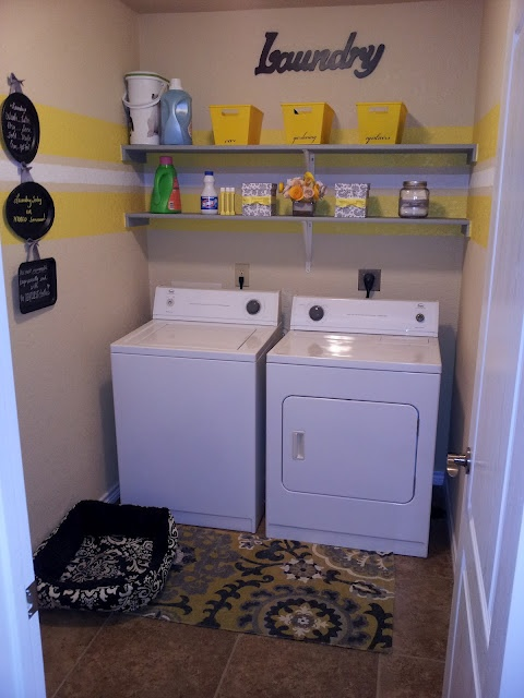 Grey & Yellow Striped Laundry Room  like the rug.. needs sum cricut to it