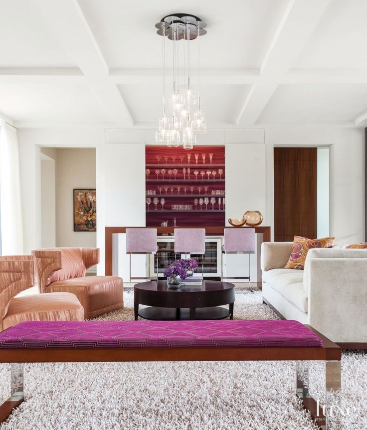 Modern white living room with aubergine and persimmon for Living room 4 pics 1 word