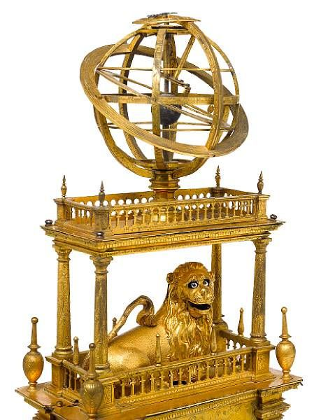 Early 17th century French gilt brass automata table clock.