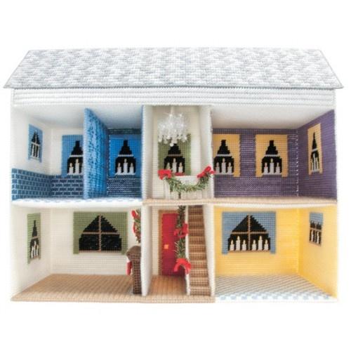 Mary Maxim - Christmas Doll House Plastic Canvas Kit: Christmas Dolls, Barbie House, Canvas Dolls, Christmas Plastic, Plastic Canvas Crafts, House Plastic, Dolls House, Dollhouses Inspiration, Dollhouses Ideas