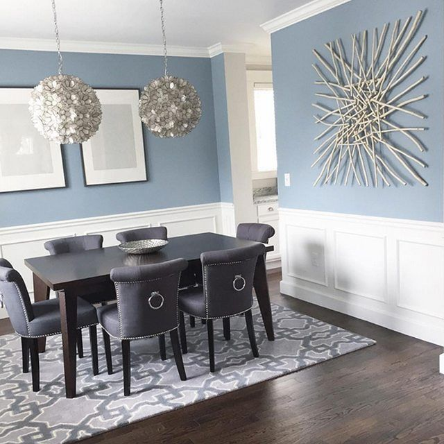 A subtle blue-gray, like our Nimbus Gray 2131-50, can add both sophistication and a hint of color to a dining room. #Regram from @ginabaran #diningroom #designinspiration #color