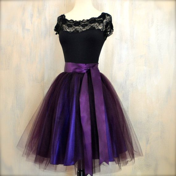 Womens aubergine tulle skirt lined in deep purple satin. Deep violet romantic skirt. on Etsy, $200.00