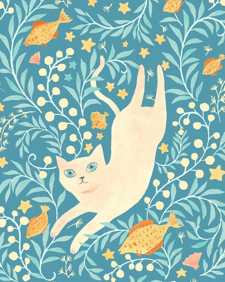 "vikkichu: "" Pisces from Cat Zodiac #illustration #zodiac #cat """