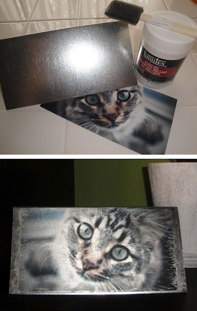 Photos on metal. INEXPENSIVE!!! Metal only costs 33 cents! This blog shows how to put pictures on metal. Super easy and great gift idea that is definitely different