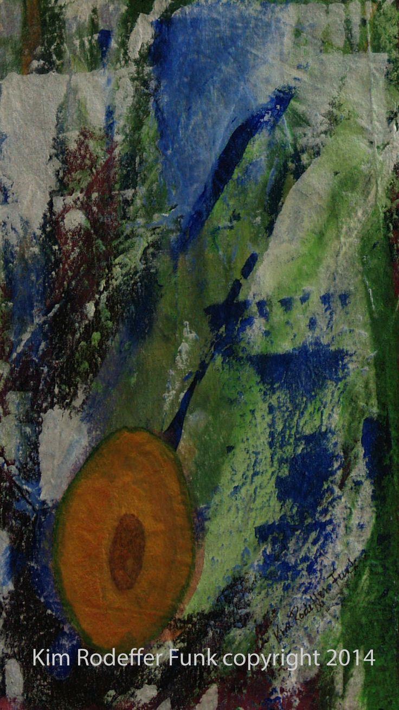"""Avocado Berry"" 20x40 cm acrylic on canvas. Artist Kim Rodeffer Funk"