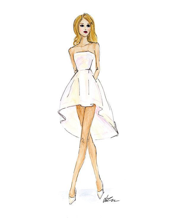 "Rosie Huntington Whiteley Cannes Red Carpet - Watercolor Fashion Illustration 8.5x11"" Print:"