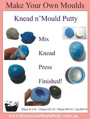 Food Grade: Make your own moulds with this easy 2 part kneadable silicone putty. Safe and Simple. From Renascent Bath Body.