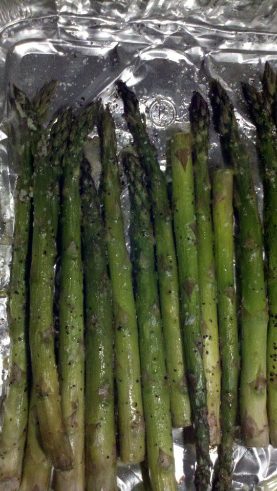 Baked Asparagus Brush with olive oil, sprinkle with sea salt, lemon pepper and sweet ginger garlic from Simply Asia. Bake at 350 for 30 mins.  To. Die. For!