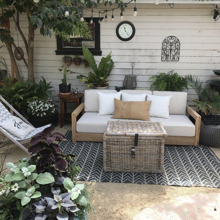 O Kean Teak Patio Sofa With Cushions Small Porch Decorating