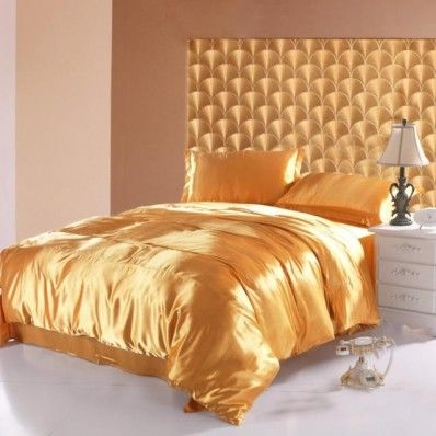 Gold Imitated Satin Silk Duvet Cover And Sheet-Cheap Bedding Sets-Full Queen King Bedding