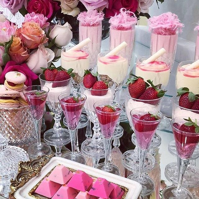 Yes, please! An afternoon delight and the prettiest dessert table to tempt your guests with collaboration by @petitedesserts dessert cups @strawberriesandco_ strawberries and Oreo bites @pure_gelato for the cutest gelato cones Gorgeous illustration @aaron